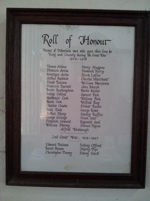 Roll of Honour, Debenham