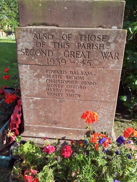 WW2 names on War Memorial, Debenham