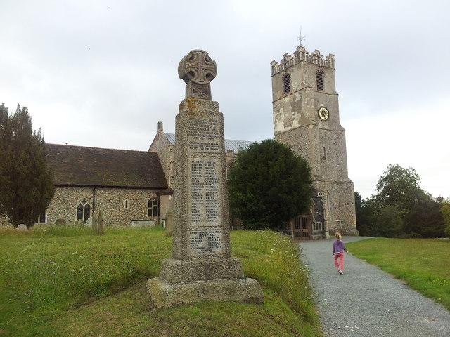 War memorial in the grounds of St Mary's Church, Coddenham