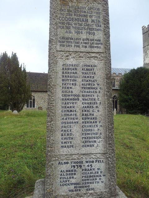 Names on the War memorial, Coddenham