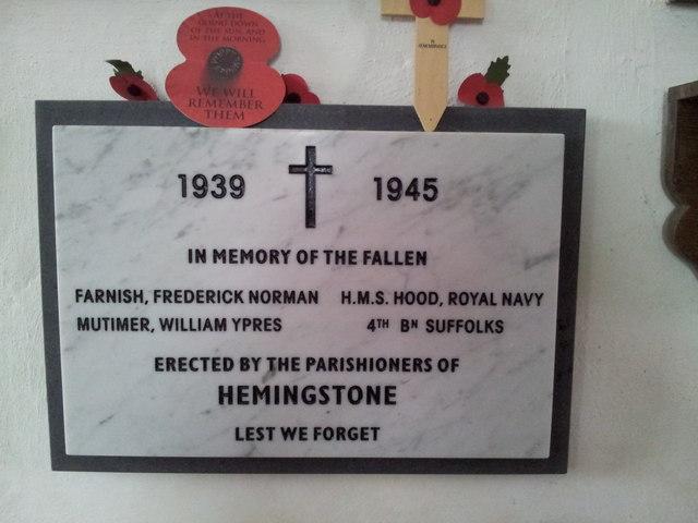 WW2 War Memorial, Hemingstone