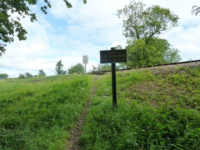 Railway signs on the Bluebell Railway embankment