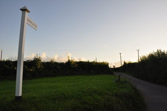 Mid Devon : Signpost to Templeton