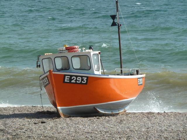 Orange boat, Branscombe Mouth