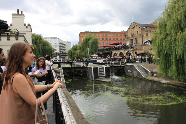 Tourists watching Camden lock in operation