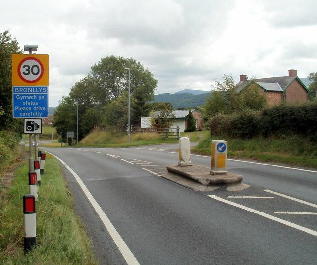 Western boundary of Bronllys