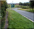 SO1334 : Narrow pavement alongside A438, Bronllys by John Grayson
