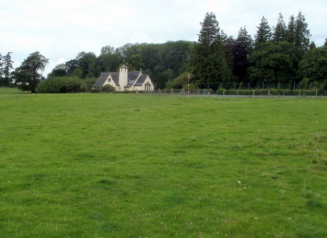 Field and chapel, Bronllys Hospital