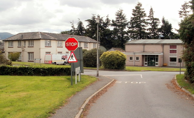 Road junction, Bronllys Hospital