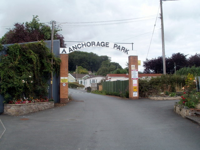Entrance archway into Anchorage Caravan Park, Bronllys