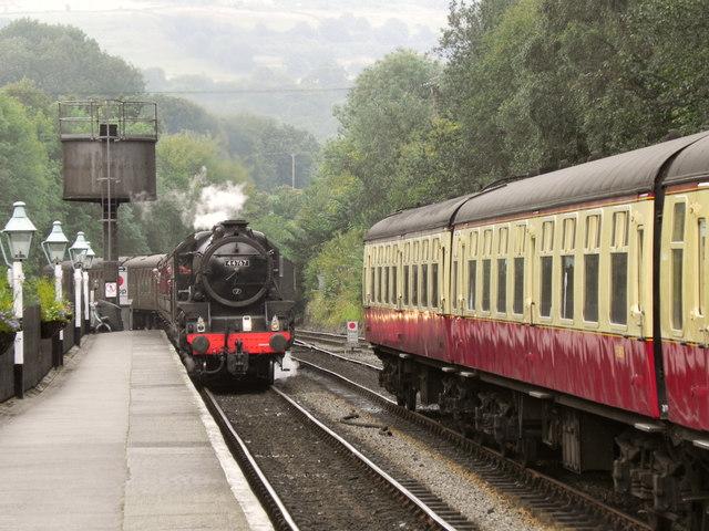 44767 George Stephenson Arriving at Grosmont.