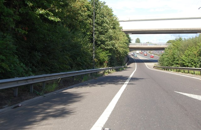 Eastbound sliproad at Junction 17 on the M60