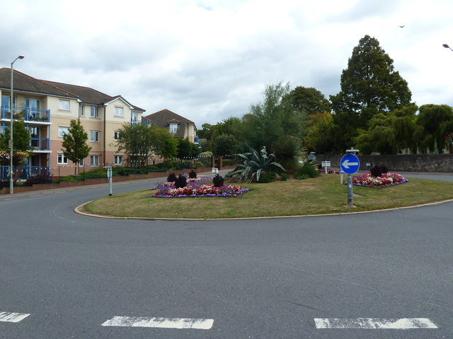 Roundabout at the junction of Rolle Road with Salterton Road and Carlton Hill