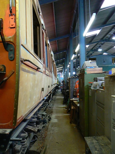 Inside the workshop, Hayes Knoll Station, Swindon and Cricklade Railway (1 of 3)