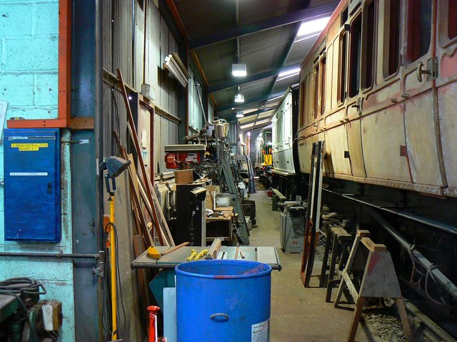 Inside the workshop, Hayes Knoll Station, Swindon and Cricklade Railway (2 of 3)