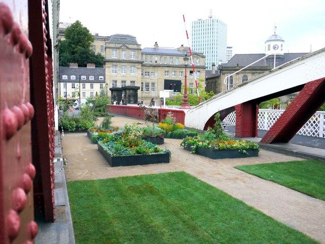 A garden on the Swing Bridge, Newcastle Gateshead Bridges Festival