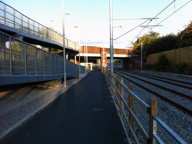 Cycle path and ramp west of St Werburgh's Road Metrolink station, Chorlton