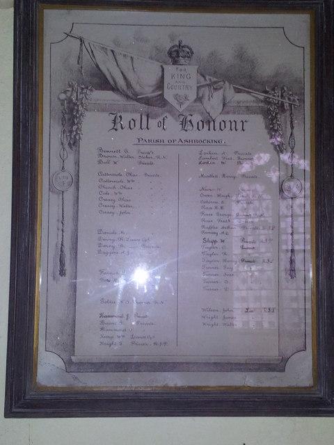 Roll of Honour, Ashbocking