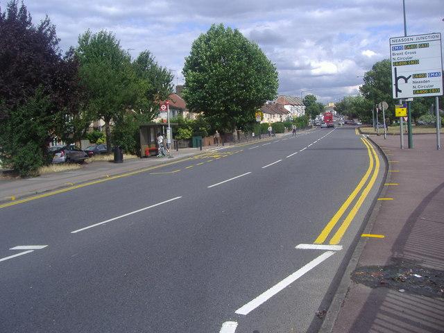 Neasden Lane approaching the underpass