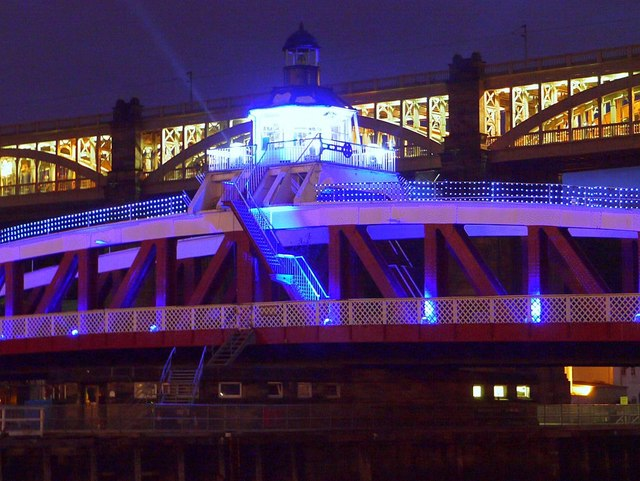 Swing Bridge illumination, Newcastle Gateshead Bridges Festival