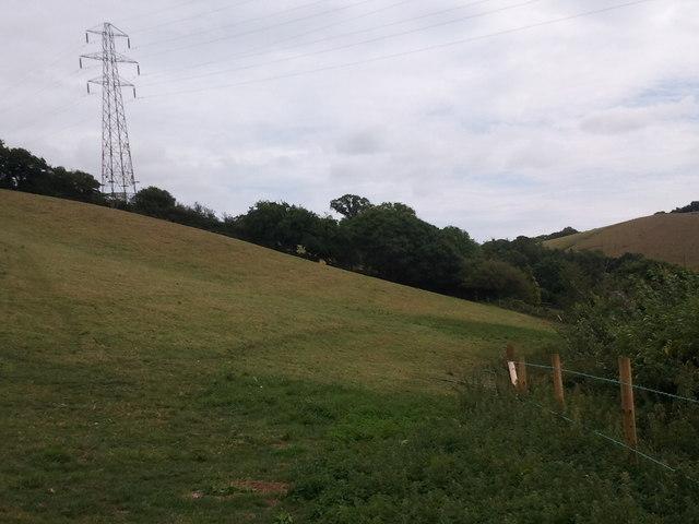 Field and power lines near Landon Barton