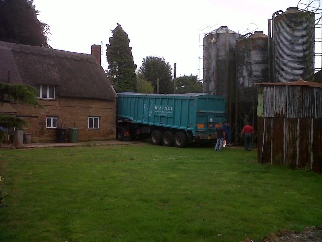 Grain delivery at Church Farm, Ridlington