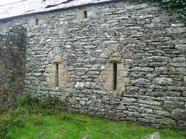 Stonework in a barn at Great Abbey Farm adjacent to Strata Florida Abbey ruins