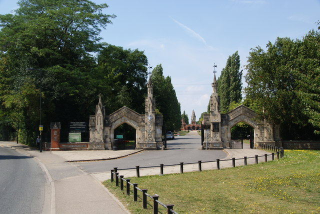 The entrance to Morden Cemetery