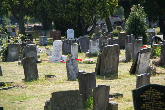 Gravestones in Merton and Sutton Cemetery