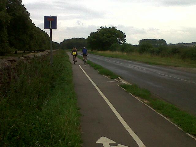 Cycle path alongside a minor road