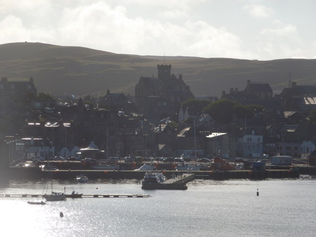 Lerwick: view of the town against the sun