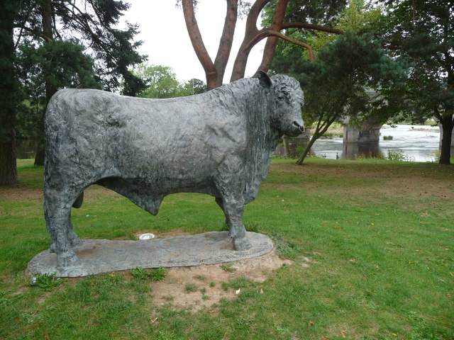 The bull statue in Builth Wells