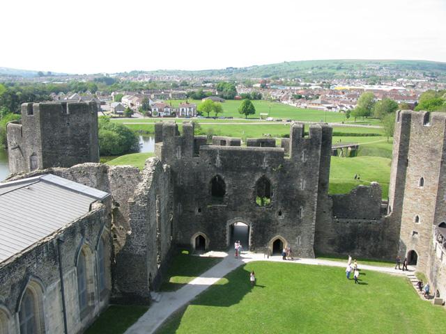 Inside Caerphilly Castle from the East inner gatehouse