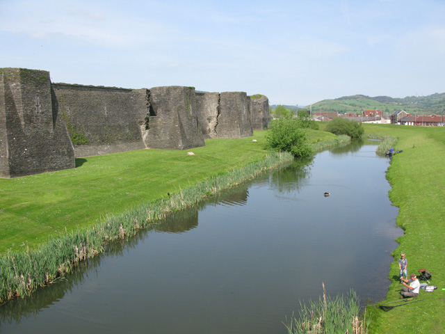 Grand Front and outer moat, Caerphilly Castle