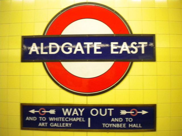 Signs, Aldgate East Underground Station