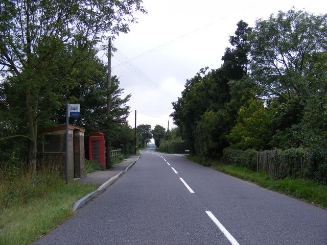 The B1078 looking towards Clopton Green