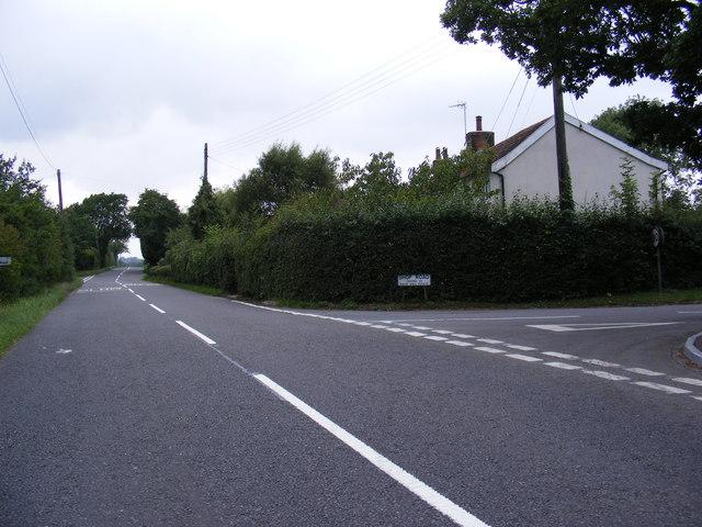 The B1078 looking towards Clopton Green
