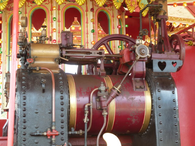 Steam engine on gallopers, Paignton Green