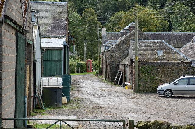 Farm buildings and phone box, Fairnilee