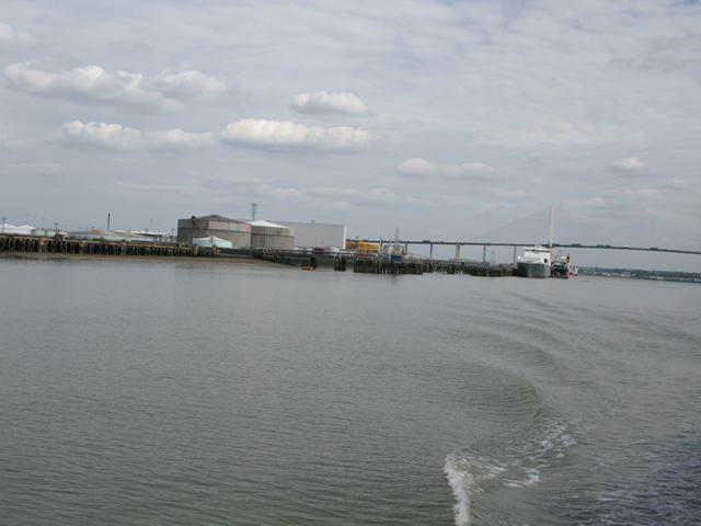 View along the River Thames downstream from Purfleet