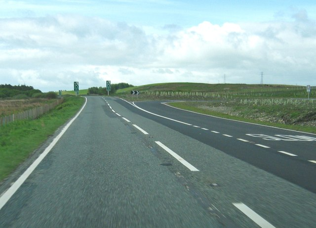 A right turning from the dual carriageway on the A75