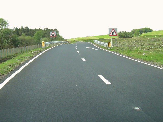 Approaching the end of a dual carriageway on the A75