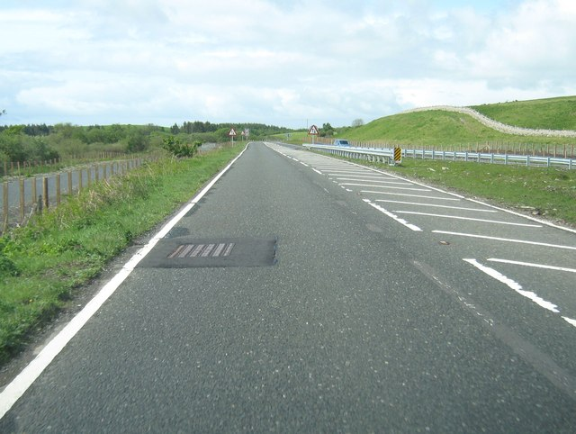 The end of a dual carriageway on the A75
