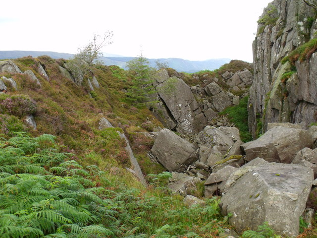 Natural quarry on northern side of Beinn Bhreac near Aberfoyle