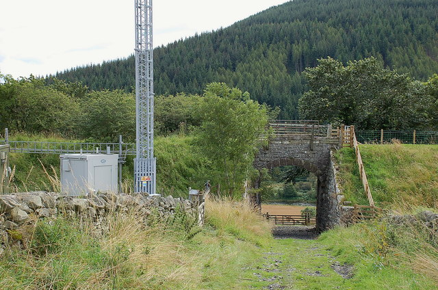 Communications mast by the old line, Caddonlee