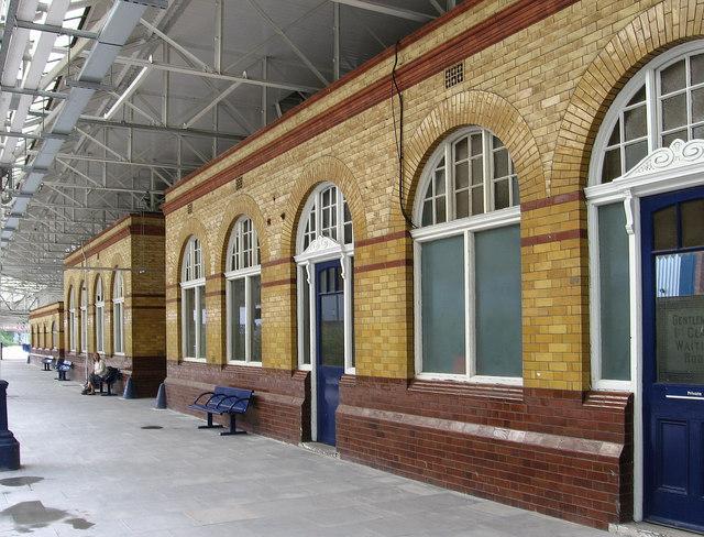 Bolton - brick buildings on station platform 1