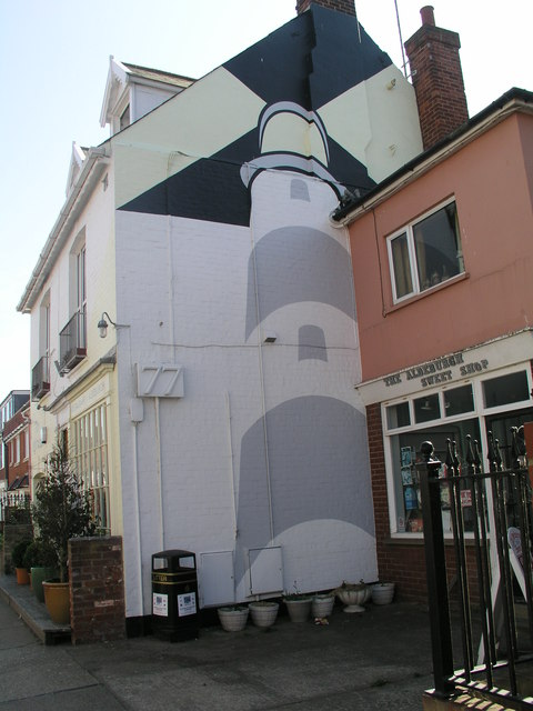 Lighthouse painted on 77 High Street, Aldeburgh