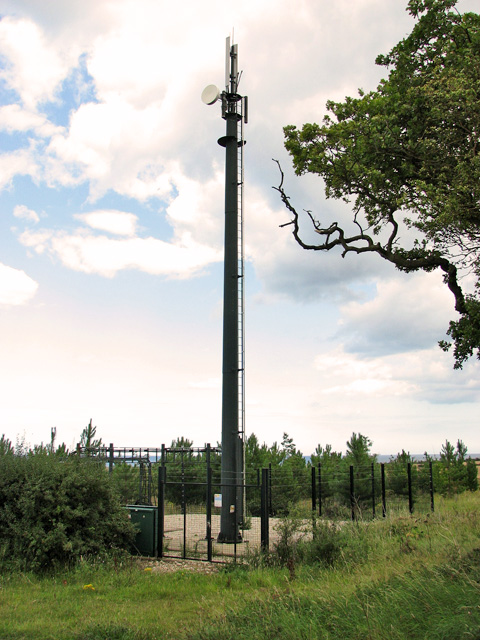 Communications mast on the edge of Chicken Planting, Cley
