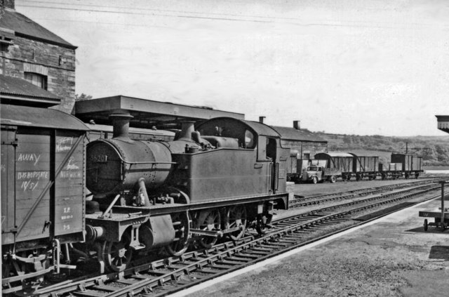 A '4575' 2-6-2T with goods train at Cardigan station