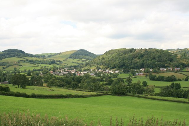 The village of Newcastle from Offa's Dyke Path
